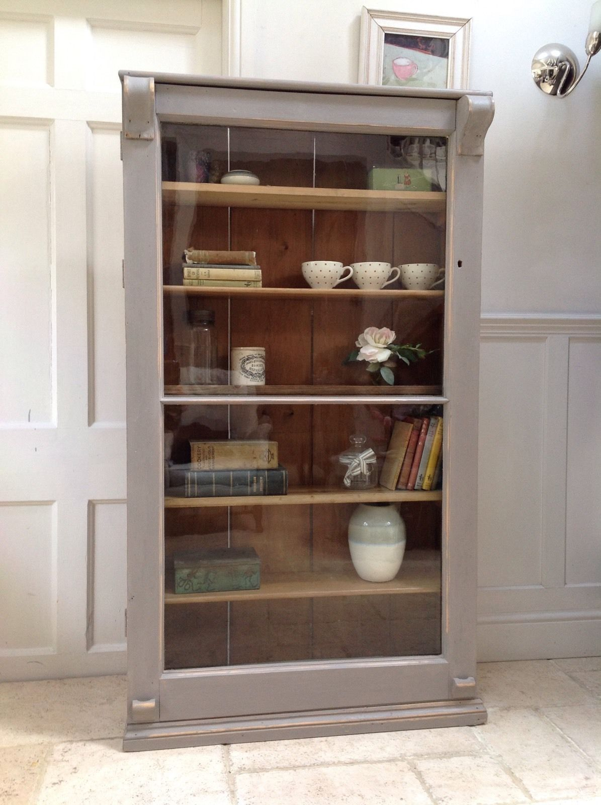 Antique Pine French Style Glazed Display Cabinet Painted Grey Bookcase  Cupboard - Antique Pine French Style Glazed Display Cabinet Painted Grey