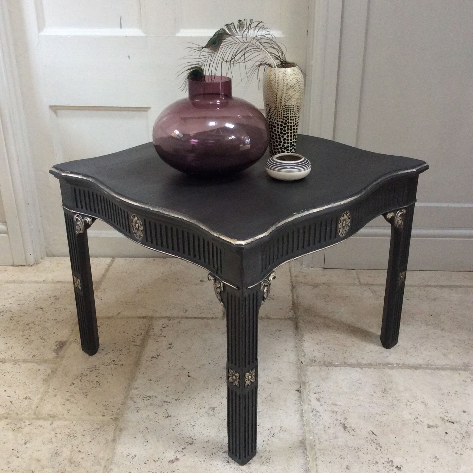 French Gold Coffee Table: Black Gold Painted Vintage Coffee Occasional Table French