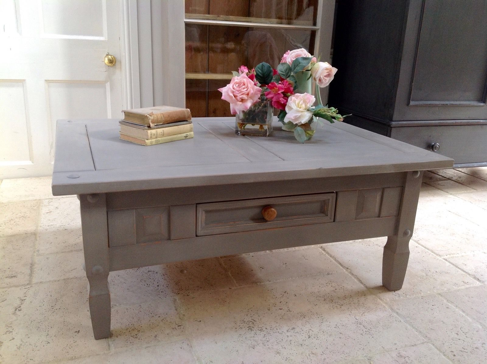 grey hand painted pine coffee table annie sloan french linen rectangular. Black Bedroom Furniture Sets. Home Design Ideas
