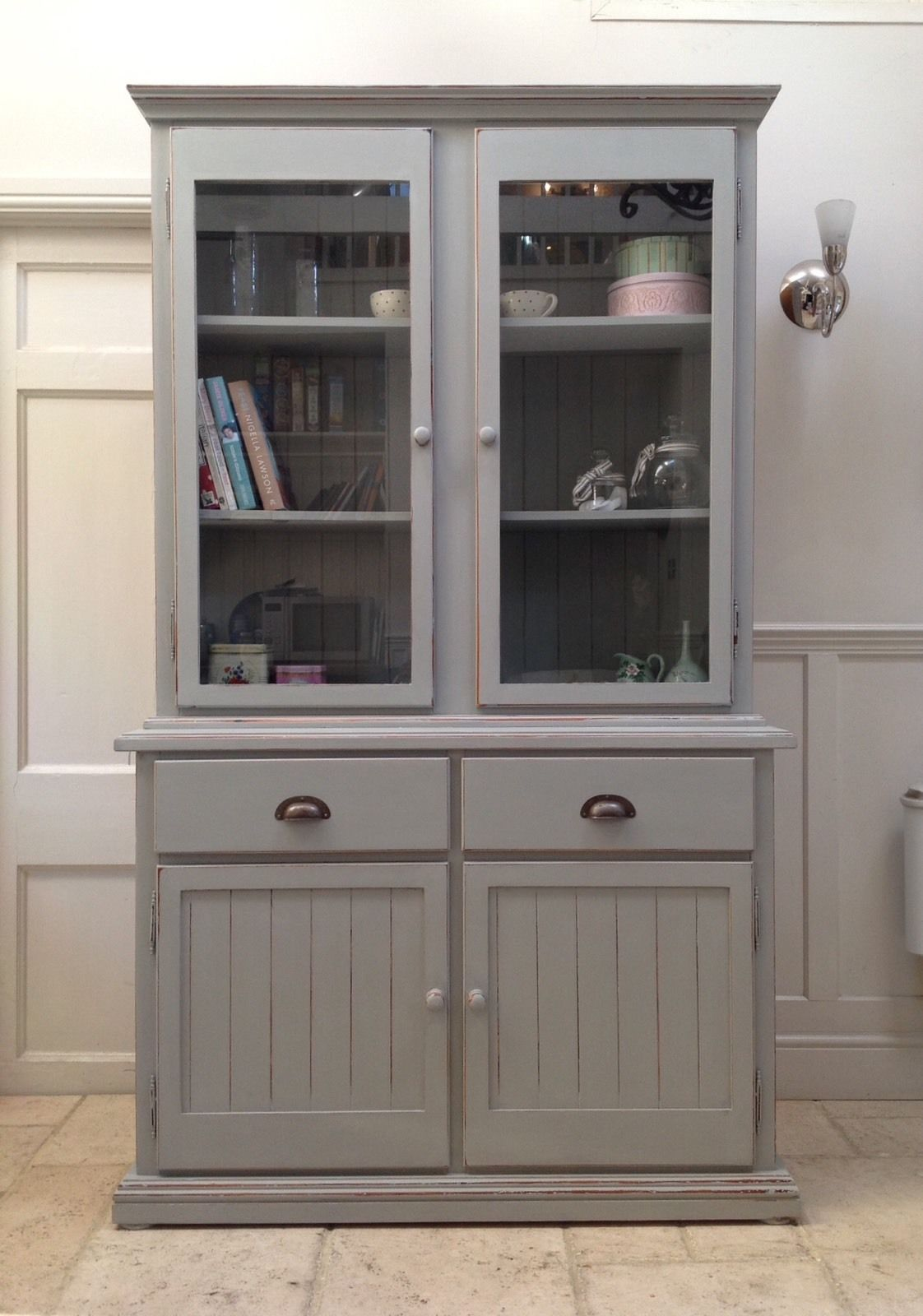 Kitchen Bookcase Painted Grey Glazed Bookcase Pine Dresser Larder Kitchen Cabinet Unit